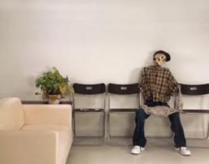 Skeleton in waiting room