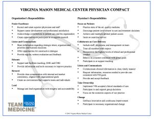 Virginia Mason Medical Center Physician Compact
