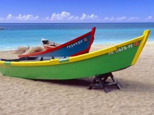 Brightly Painted Fishing Boats on a Caribbean Beach, Crash Boat