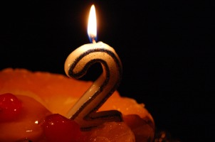 Two-year birthday candle