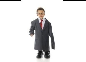 Child in man's suit