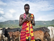 Masai cell phone user
